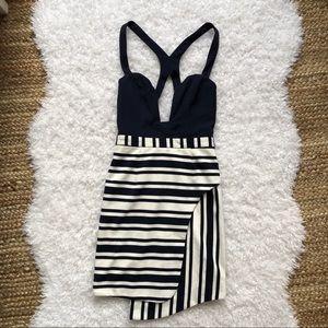 Angel Biba Navy & White Bodycon Dress 8